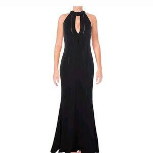 Black Keyhole Halter Formal Gown